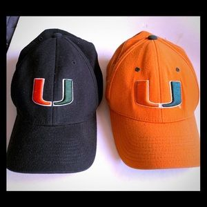 2 University of Miami hats